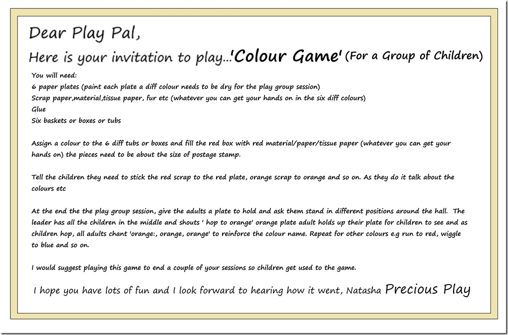 Invitation to Play Precious Play Pal Colour Game Play Group or Party